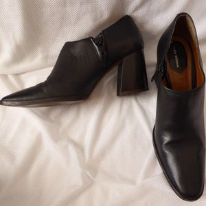 Zara Black Leather Ankle Boots 36